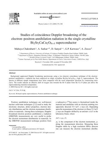 Studies of coincidence Doppler broadening of the electron–positron ...