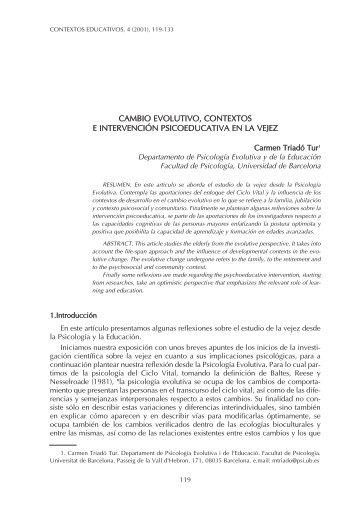 cambio evolutivo, contextos e intervención psicoeducativa ... - Dialnet