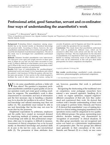 Professional artist, good Samaritan, servant and co-ordinator: four ...