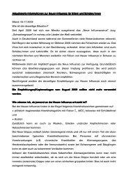 Aktualisierte Informationen zur Neuen Influenza für Eltern und ...