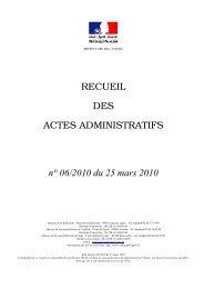 Recueil n°6 du 25 mars 2010 - Les services de l'État dans l'Yonne