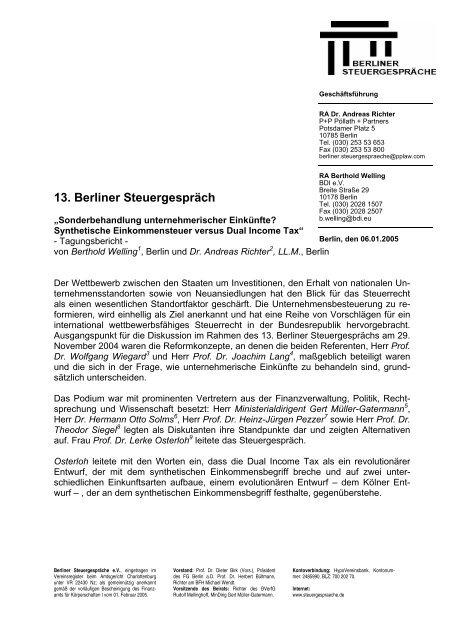 Tagungsbericht (PDF) - Berliner Steuergespräche eV