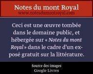 Galland - Notes du mont Royal