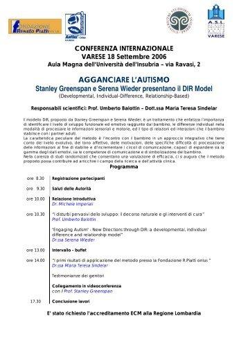 """Programma conferenza internazionale: """"agganciare l'autismo"""""""