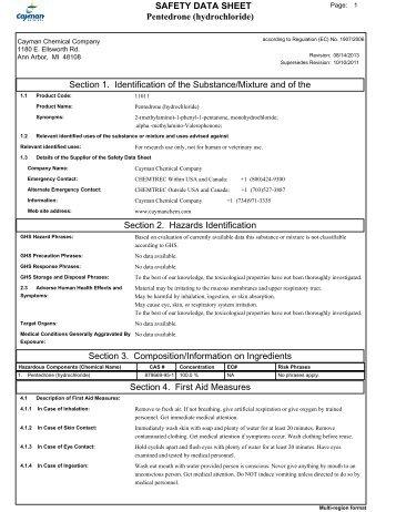Pentedrone (hydrochloride) MATERIAL SAFETY DATA SHEET 1 ...