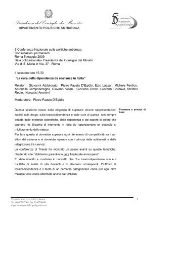 La cura della dipendenza da sostanze in Italia - 5a Conferenza ...