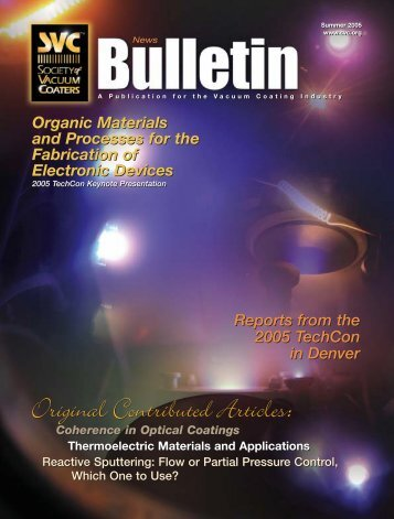 2005 SVC Summer Bulletin - The Society of Vacuum Coaters
