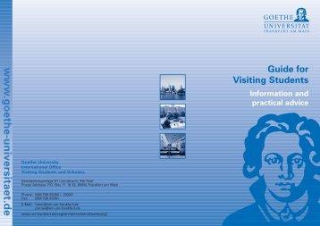 www .goethe-universitaet.de Guide for Visiting Students Information ...