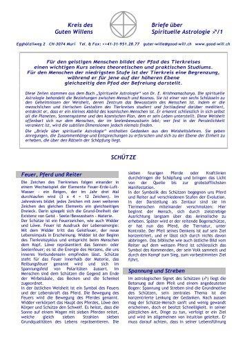 Kreis des Briefe über Guten Willens Spirituelle Astrologie /1 SCHÜTZE