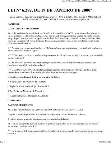 LEI Nº 6.282, DE 19 DE JANEIRO DE 2000*.
