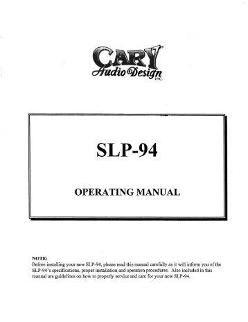 SLP-94 - Cary Audio Design