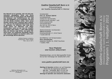 Progra mm | 1. Halbjahr 2012 - Goethe-Gesellschaft Bonn eV