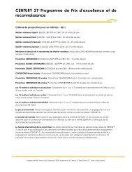CENTURY 21® Programme de Prix d'excellence et de ...