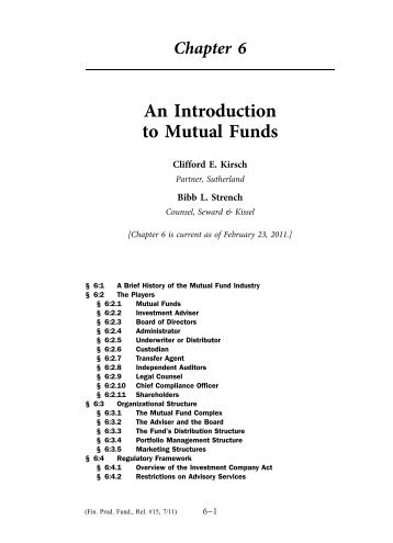 An Introduction to Mutual Funds - Practising Law Institute