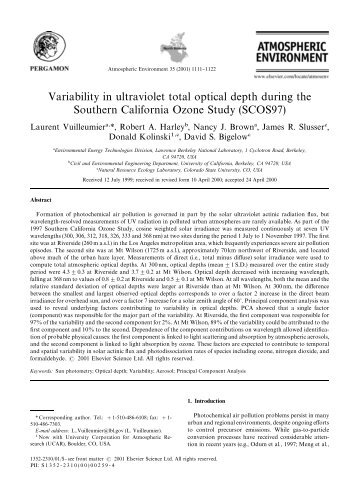 Variability in ultraviolet total optical depth during the - UV-B ...