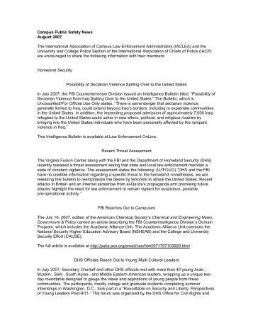 August 2007 Edition - International Association of Campus Law ...