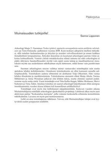 Muinaistutkija 12009painoon.indd - Suomen arkeologinen seura ry.