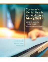 Community Mental Health and Addictions Privacy Toolkit - Canadian ...