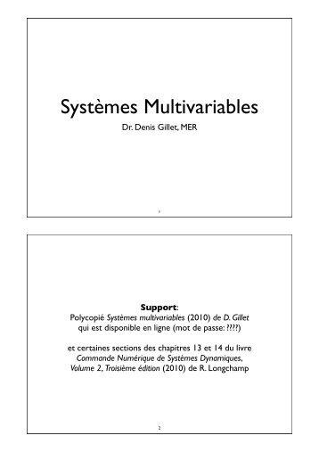 Systèmes Multivariables - EPFL