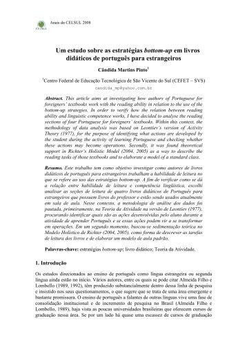 Um estudo sobre as estratégias bottom-up em livros ... - Celsul.org.br