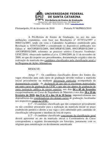 Informações sobre a matrícula [pdf] - Vestibular UFSC/2010