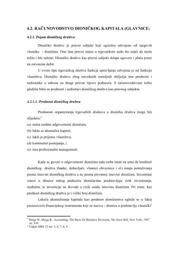 "4.2. RAÃ""ÂŒUNOVODSTVO DIONIÃ""ÂŒKOG KAPITALA (GLAVNICE)"