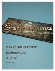 MANAGEMENT REPORT SOPHARMA AD Q3 2012