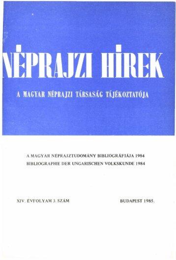 A magyar néprajztudomány bibliográfiája 1984 ... - Néprajzi Múzeum