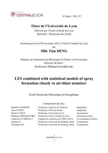 LES combined with statistical models of spray formation closely to ...