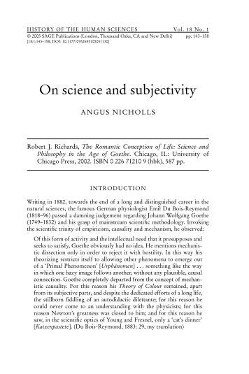 On science and subjectivity - Personal Web Pages - University of ...