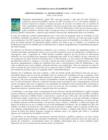 EUROMESCO ANNUAL CONFERENCE