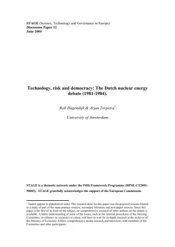 Technology, risk and democracy: the Dutch nuclear energy ... - stage