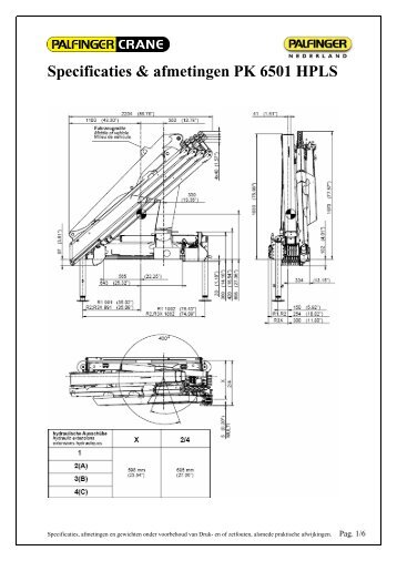 Specificaties & afmetingen PK 6501 HPLS - Palfinger