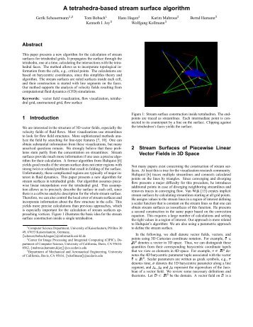 A tetrahedra-based stream surface algorithm - ResearchGate