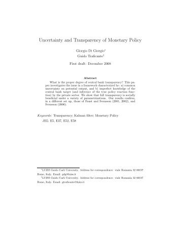 Uncertainty and Transparency of Monetary Policy