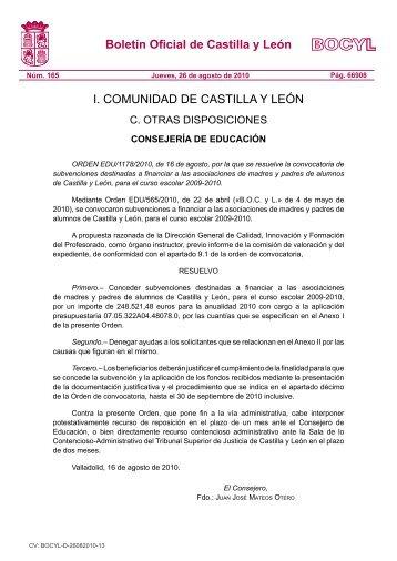BOCYL n.º 165 26-agosto-2010 - Escuelas Católicas de Castilla y ...