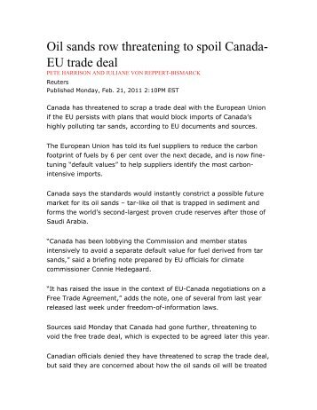 Canada Eu Trade Deal Threatened By Infighting
