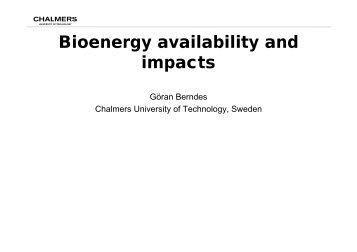 Bioenergy availability and impacts [ pdf]