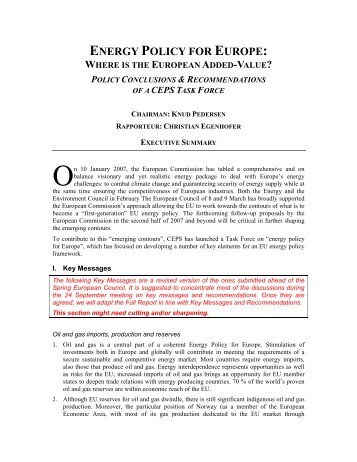 energy policy for europe: where is the european added-value?