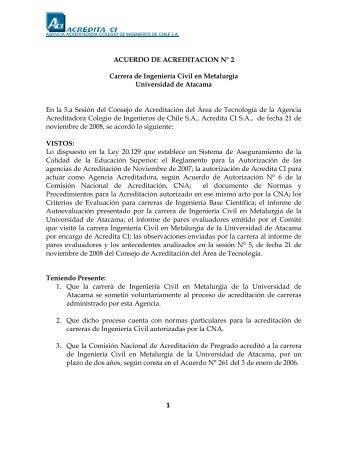 Acuerdo de Acreditación Nº 2, ACREDITA CI - metalurgia-uda