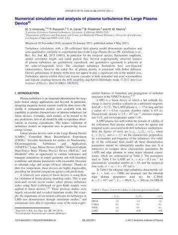 Numerical simulation and analysis of plasma turbulence the Large ...