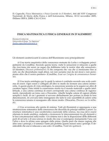 Fisica Matematica e Fisica Generale in d'Alembert - Istituto di Fisica ...