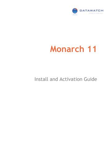 Installing and Activating Monarch - XLsoft Corporation