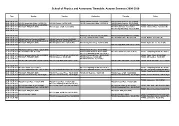 Autumn Semester 2009-2010 - Cardiff School of Physics and ...
