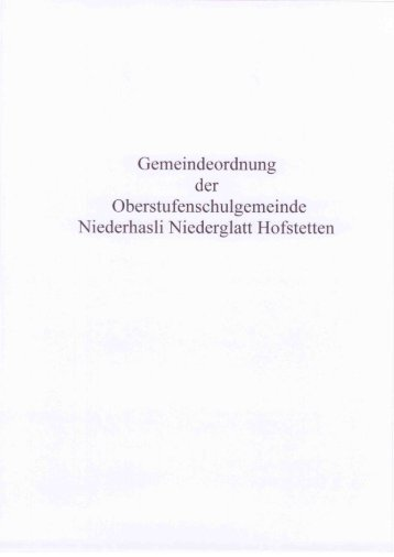 Gemeindeordnung - Sekundarschule Niederhasli, Niederglatt ...