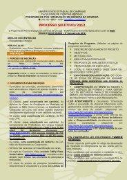 PROCESSO SELETIVO/2012 - Fcm - Unicamp