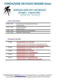 Calendario Attività - fondazione un passo insieme onlus