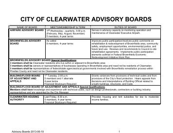 CITY OF CLEARWATER ADVISORY BOARDS - City Home