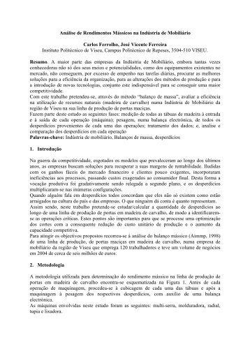 Análise de Rendimentos Mássicos na Indústria de Mobiliário - ESAC