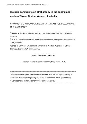 Supplementary Papers - Geological Society of Australia